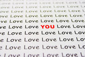 Love text on paper — Stock Photo