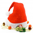 A christmas hat with gift and toys — Stock Photo