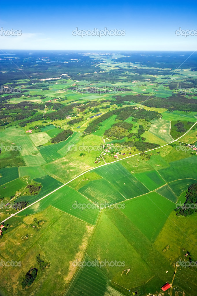 Aerial view of green rural landscape  Stock Photo #1642139