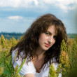 Woman in the field with wavy hair - Stock Photo
