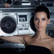 Woman with retro Boom Box — Stock Photo