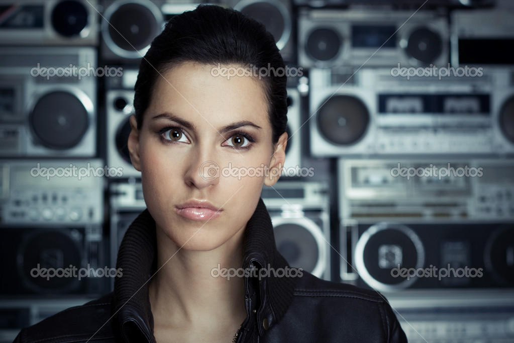 Woman with retro Boom Box  Stock Photo #1626129