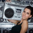 Woman with retro Boom Box — Stock Photo #1908582