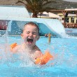 Stock Photo: Child laps in aquapark.