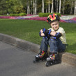 Stock Photo: Boy on roller blades