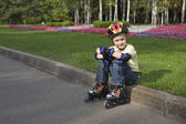 The boy on the roller blades — Stock Photo