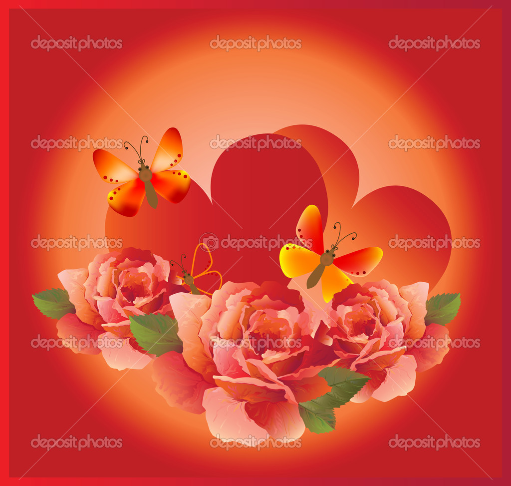 Romantic cardr with red rose — Image vectorielle #1301669