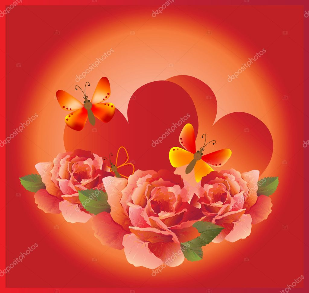 Romantic cardr with red rose — Imagen vectorial #1301669