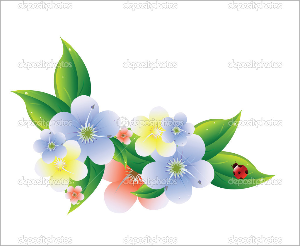 Beatiful isolated flowers — Stock Vector #1369749