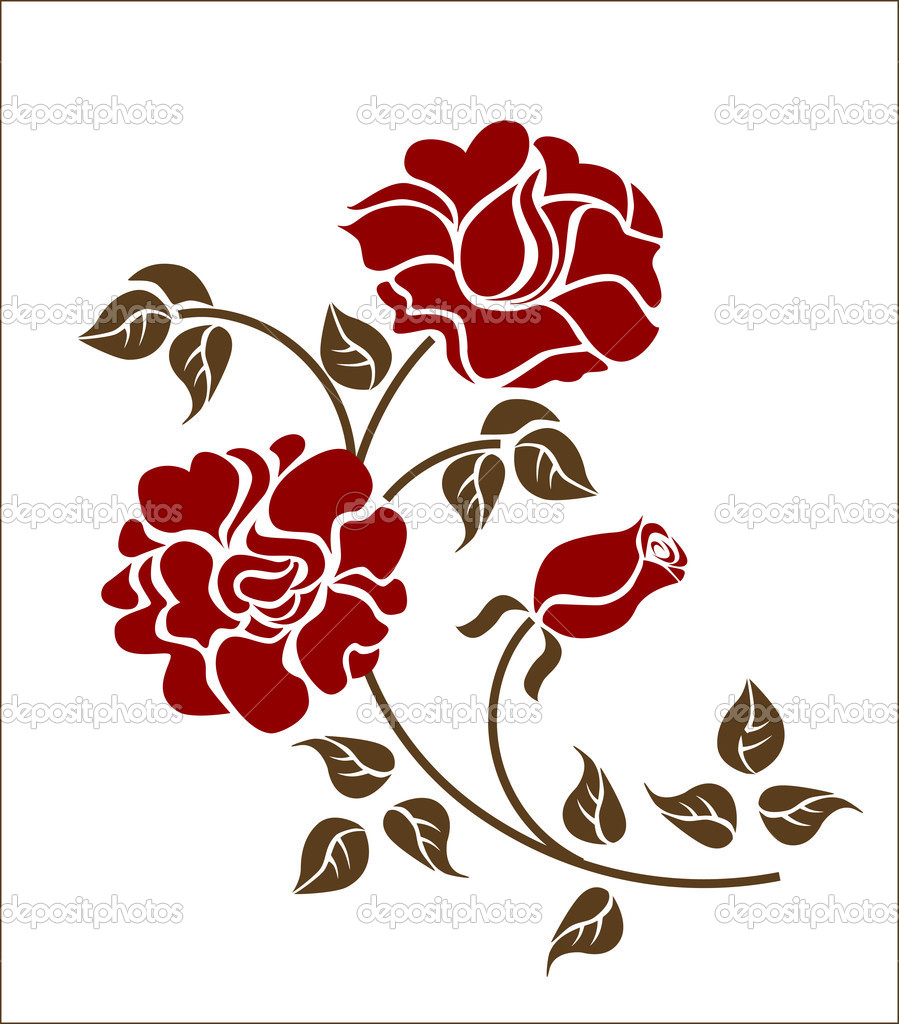 Red roses over  white backgroud.  — Stock Vector #1371234