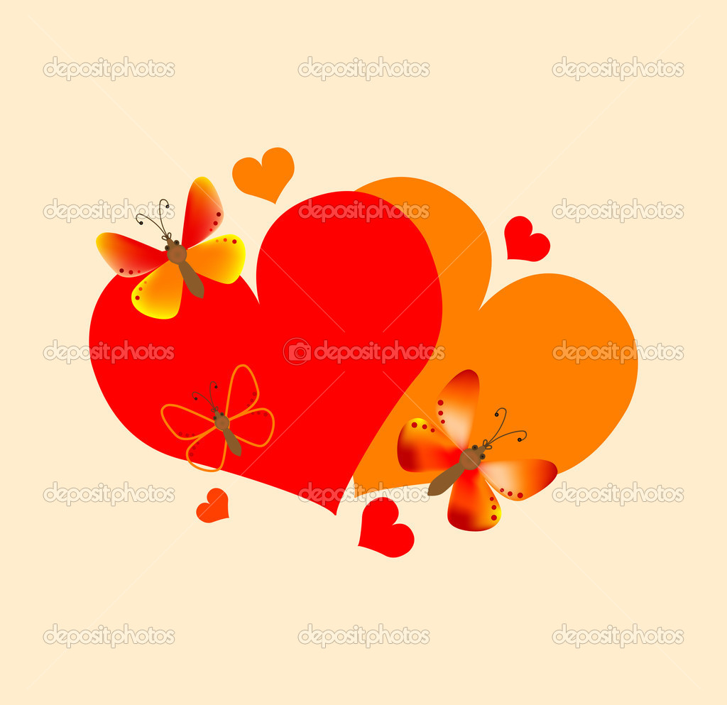 Hearts and butterflies. Vector EPS 8 — Stock Vector #1378361
