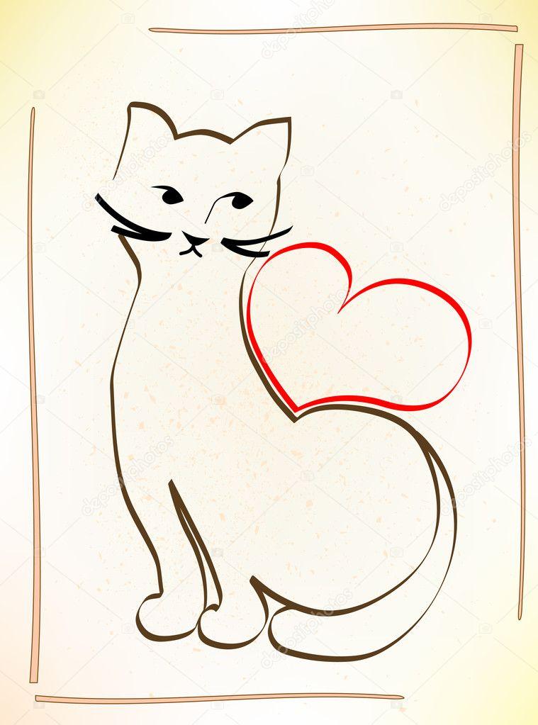 猫正在等待你的爱 — 图库矢量图像08