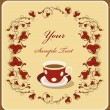 Red cup of coffee in the flral frame — Stock Vector #1447047
