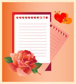Romantic letter with red rose — Stock Vector