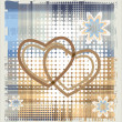 Stock Vector: Hearts over halftone backgrpund