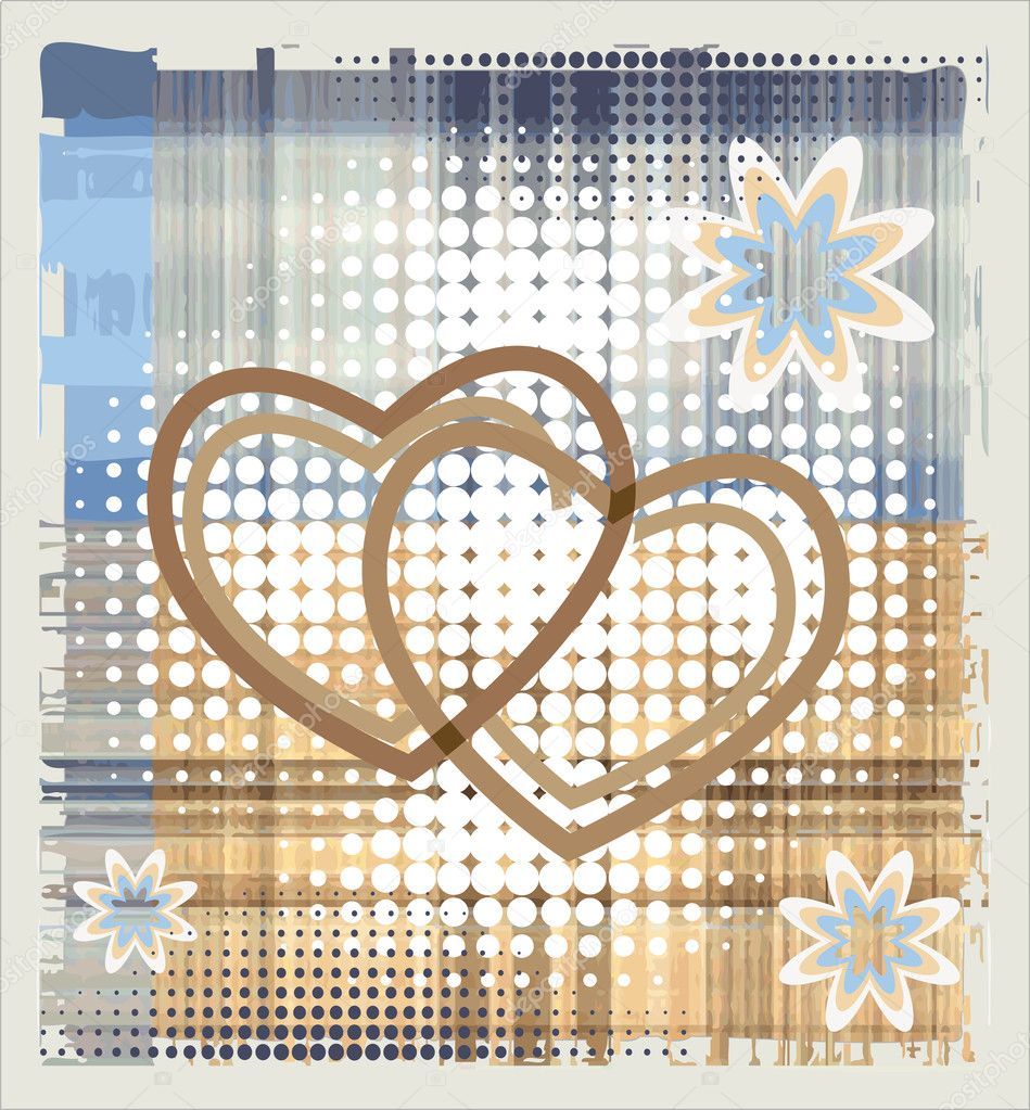 Hearts over halftone backgrpund  Stock Vector #1476221