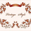 Vintage floral frame with ribbon - Imagen vectorial