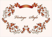 Vintage floral frame with ribbon — Vector de stock