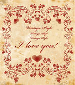 Vinage valentines day card — Vector de stock