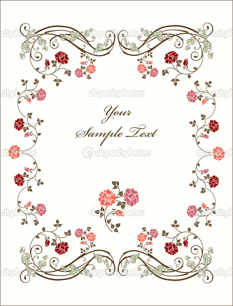 Retro frame with roses. — Stock Vector #1514622