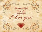 Vinage valentines day card — Vecteur