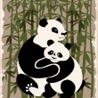 Pandas family in the bamboo forest — Stock Vector
