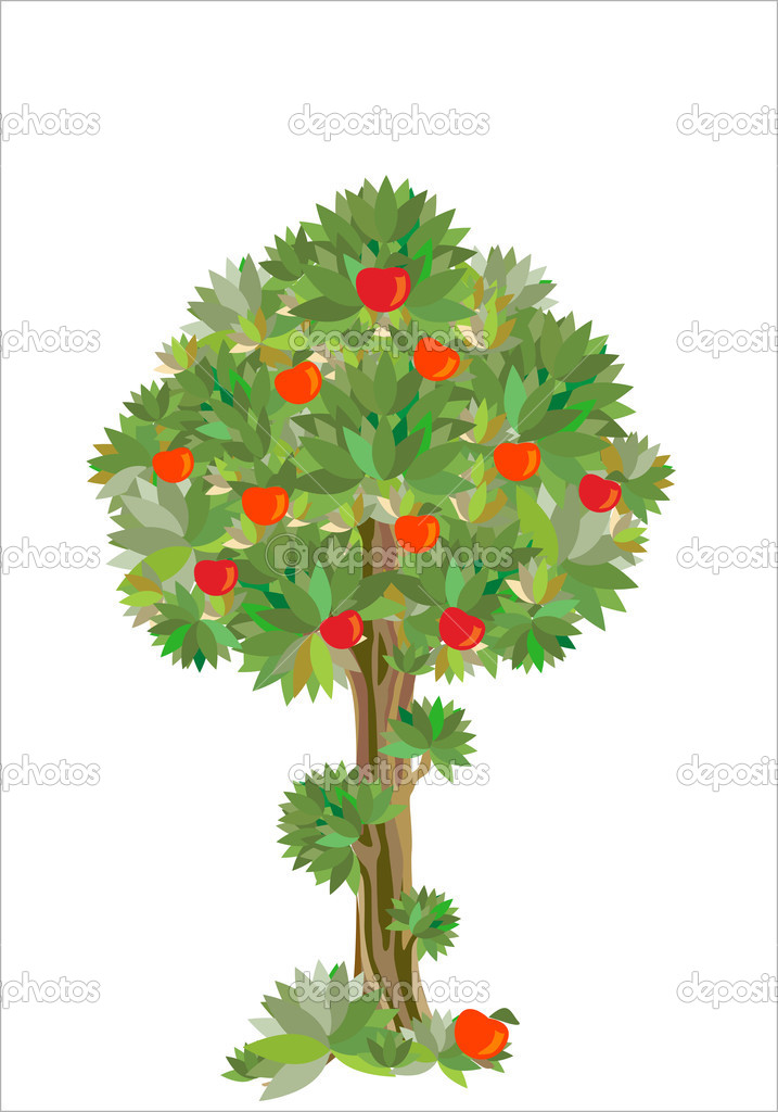 Tree Plan Vector Stylized Apple Tree Vector