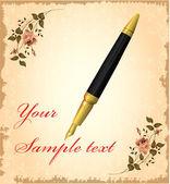 Golden pen over vintage background — Stock Vector