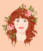 Ginger girl with roses — Stock Vector