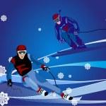 Ski-cross illustration — Stock Vector
