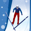 Jumping skier — Stock Vector