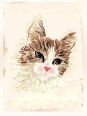 Vintage portrait of the cat — Stock Vector