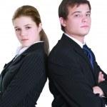 若いビジネスの笑みを浮かべてします。白い背景の上の分離 — ストック写真