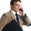 Happy business man laughing on his cell phone — Stock Photo