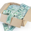 Box and falling money — Stock Photo