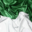 Smooth elegant green and white silk can use as background — Stock Photo
