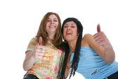 Grupo de amigos felizes fazendo caretas — Foto Stock