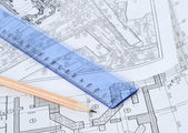 Engineering building plans — Stock Photo