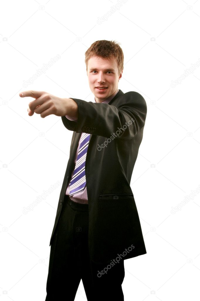 A young business man, pointing index finger  Stock Photo #1222857