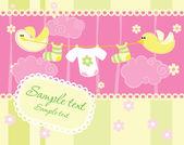 赤ちゃんの到着のお知らせカード — ストックベクタ