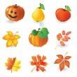 Set of autumn icons - Stock Vector