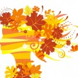 Woman with autumn leaves - Imagen vectorial
