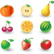 Set of fruit objects — Stock vektor