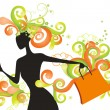 Royalty-Free Stock Vector Image: Whimsical shopping girl