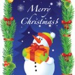 Vector Christmas card with snowman - Stock Vector