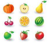 Set of fruit objects — Stock Vector