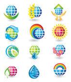 Set of globe design icons — Stock Vector