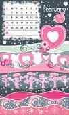 Cadre décoratif pour calendrier - février — Vecteur