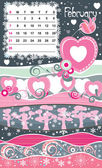 Cornice decorativa per calendario - febbraio — Vettoriale Stock
