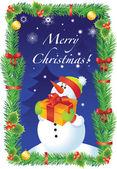 Vector Christmas card with snowman — Stockvektor